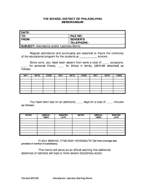 Subject Attendance And Or Lateness Memo Doc Template Pdffiller