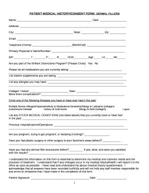 PATIENT MEDICAL HISTORY/CONSENT : DERMAL FILLERS Doc Template