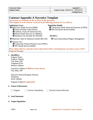Fillable Online Contract Appendix A Narrative Template Fax Email