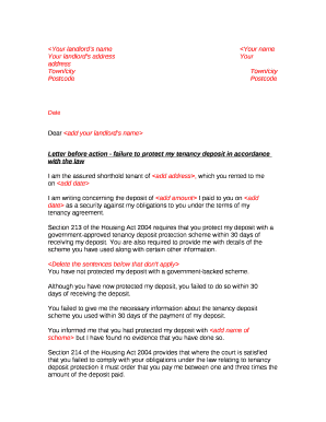 Letter Before Action >> Letter Before Action Doc Template Pdffiller