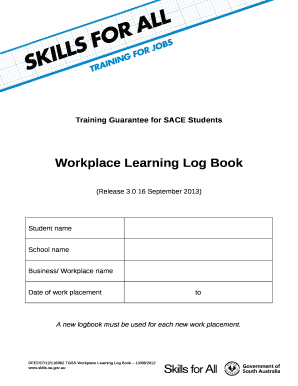 Workplace Learning Log Book Doc Template Pdffiller