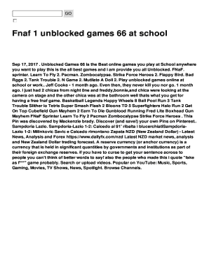 Fillable Online Fnaf 1 unblocked games 66 at school Fax