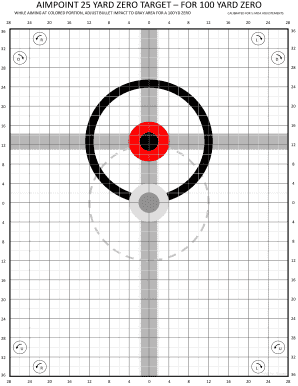 image about Ar15 25 Yard Zero Target Printable titled Editable 100 garden zero at 25 yards focus - Fill Out, Print