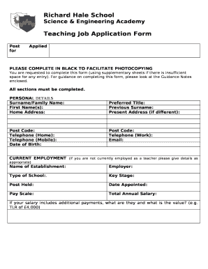 Teacher Job Application Doc Template Pdffiller