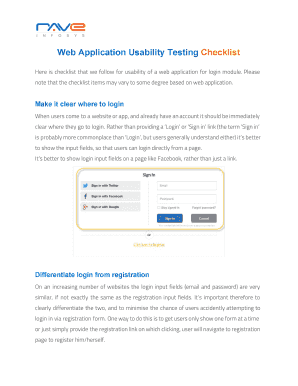 Fillable usability testing checklist for mobile application