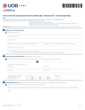 Fillable Online APPLICATION FOR UOB BUSINESS INTERNET BANKING (BIB