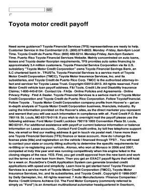 Fillable Online Toyota Motor Credit Payoff Fax Email Print Pdffiller