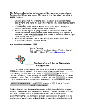 cover letter for press release Doc Template | PDFfiller