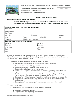 Fillable Online Land Use and/or Building Project Permit Pre ... on pre certification form, information request form, pre admission form sample, pre approval form,