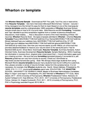 Wharton cv template Fill Online, Printable, Fillable, Blank ...