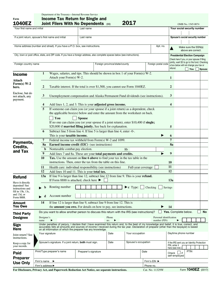 Enjoyable 2017 2019 Form Irs 1040 Ez Fill Online Printable Fillable Download Free Architecture Designs Embacsunscenecom
