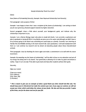 28 Printable Scholarship Thank You Letter Forms And Templates