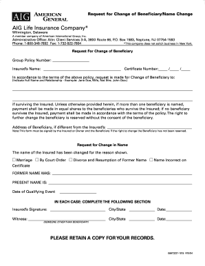 Fillable Online AIG Beneficiary Name Change Form ...
