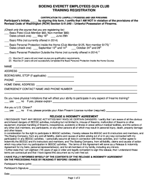 Fillable Online beegc Training Registration Form - Boeing