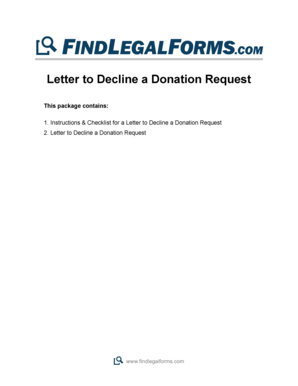 Fillable Online Letter to Decline a Donation Request - Findlegalforms.com Fax Email Print - PDFfiller