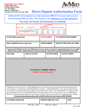 Direct Deposit Authorization Form revissed 6-11-08.doc - avmed