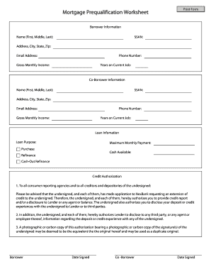 Printables Mortgage Pre Qualification Worksheet blank qualification for worksheet form fill online printable worksheet