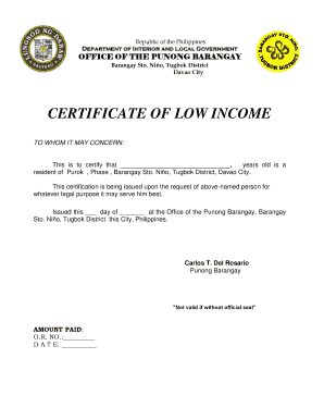 Barangay Certification Of Low Income Editable Fillable