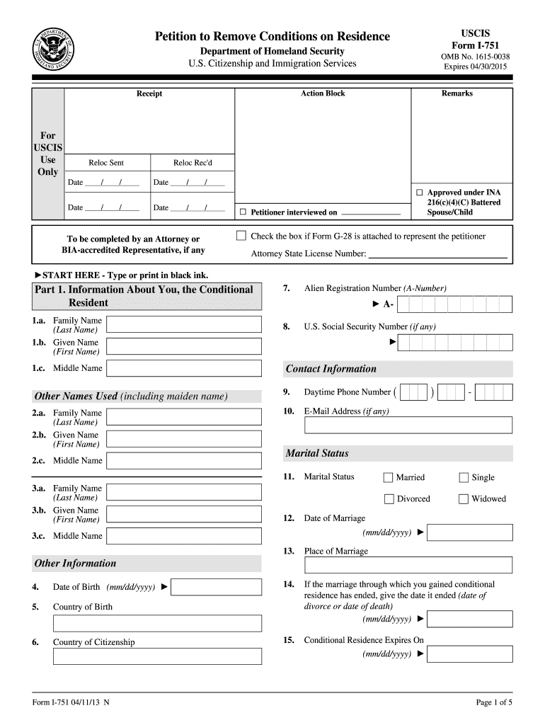 2013 Form USCIS I-751 Fill Online, Printable, Fillable, Blank