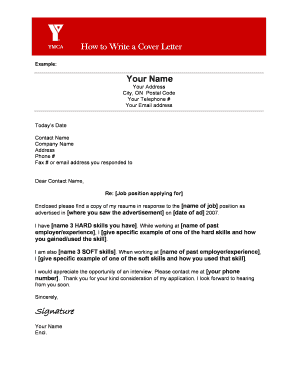 COVER LETTER TEMPLATE. Pre-tenancy application form