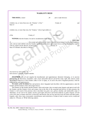 Sample Warranty Deed Form | Sample Warranty Bdeedb Fill Online Printable Fillable Blank