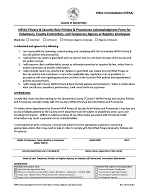 Fillable Online compliance saccounty HIPAA Acknowledgment Form for ...