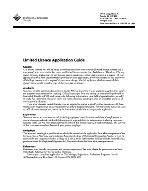 Limited Licence Application Guide - Professional Engineers