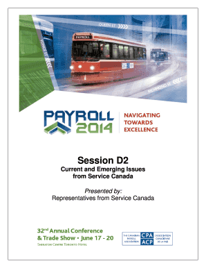 Fillable Online Paie Session D2 Current And Emerging Issues From Service Canada Paie Fax Email Print Pdffiller