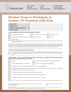 Fillable Online Election Form to Participate in Section 125 ...