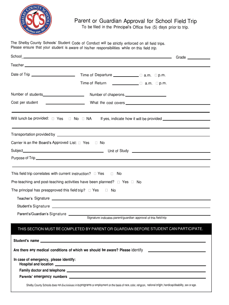 Approval Field Trip Form Fill Online Printable
