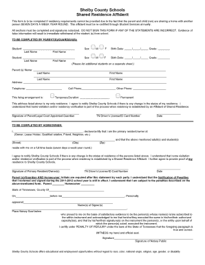 Shared Residence Affidavit Form