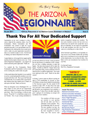 Thank You For All Your Dedicated Support - American Legion - azlegion
