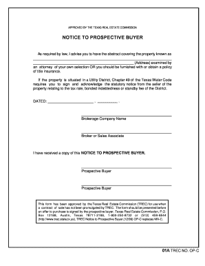 fillable online form op c notice to prospective buyer for sale by owner texas fax email print. Black Bedroom Furniture Sets. Home Design Ideas