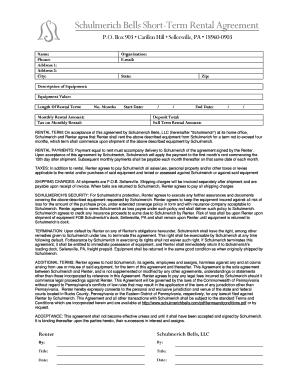 Schulmerich Bells Short Term Rental Agreement. Brookdale Dependent Monthly  Expenses Form