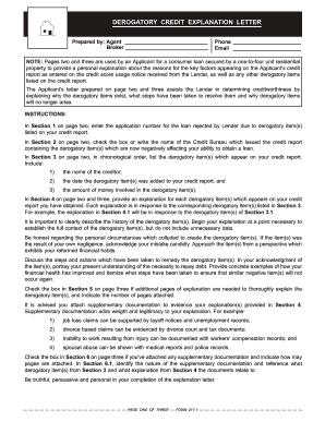 Letter Of Explanation Derogatory Credit from www.pdffiller.com