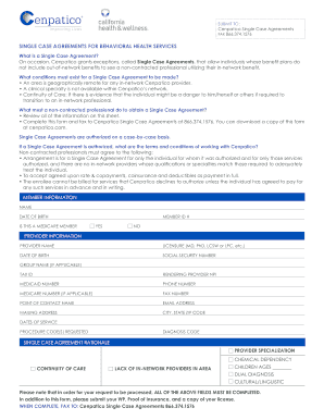 single case agreement template form