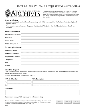 Interlibrary Loan Request Form   The United Church Of Canada