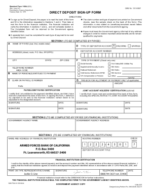 Direct Deposit Form - Armed Forces Bank of California, NA