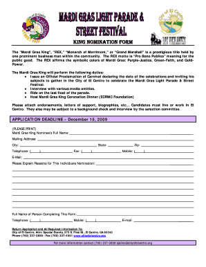 criteria for king rex mardi gras form