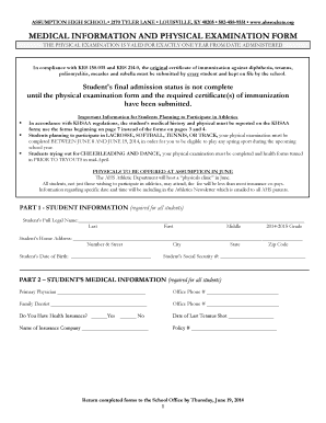Fillable Online KHSAA Physical Form - Assumption High School Fax ...