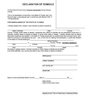 Declaration Form Format For Domicile - Fill Online, Printable ...