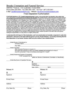 Fillable Online Florida Final Disposition Authorization Form ...