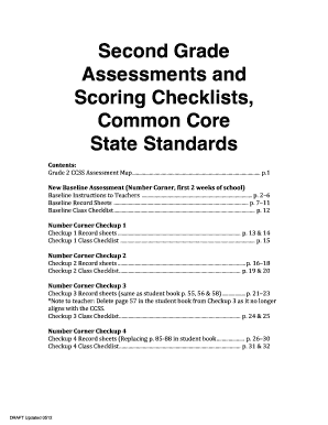 Second Grade Assessments and Scoring Checklists Common Core bb