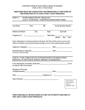 Certificate Of Non Enrollment Fill Online Printable