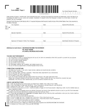 Fillable Online Georgia, Mailing Address. Georgia Form 500EZ page ...