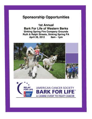 RFL Bark For Life Sponsorship Proposal Sample ... - Relay For Life