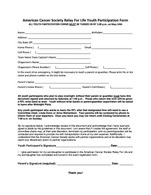 Relay For Life Student Participation Form 2017 Fill