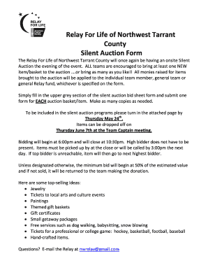 fillable online relay acsevents relay for life of northwest tarrant