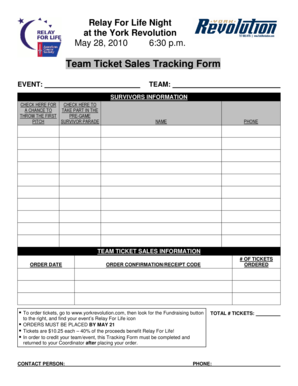 Team Ticket Sales Tracking Form - Relay For Life - relay acsevents