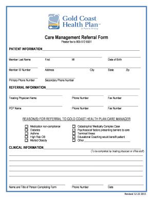 Fillable Online goldcoasthealthplan Care Management Referral